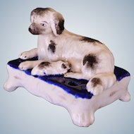 C1850 Charming Victorian Staffordshire Dog With Pup Inkwell