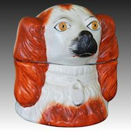 Victorian Staffordshire Spaniel Dog Head Tobacco Jar With Lid