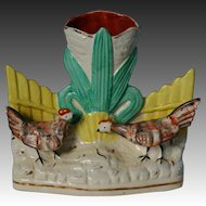 Victorian Staffordshire Hen And Rooster Going For Worm Spill Vase