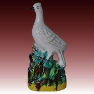 C1860 Antique Staffordshire Bird On Rock Figure