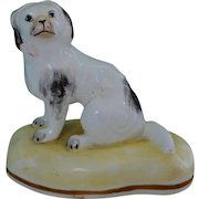 C1835-1840 ~ Antique Staffordshire Porcelain Black And White Spaniel Dog