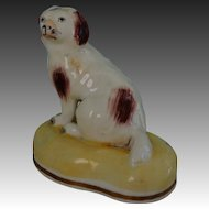C1835-1840 ~ Antique Staffordshire Porcelain Brown And White Spaniel Dog