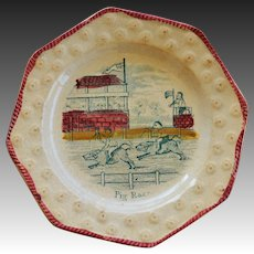 """C1840 Early Child's Pearlware Plate ~ """"Pig Race"""""""