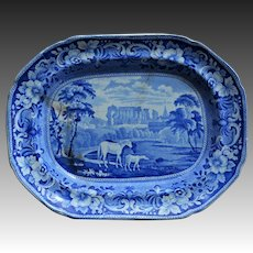 Antique Staffordshire Transferware Platter ~ Horse With Foal C1840