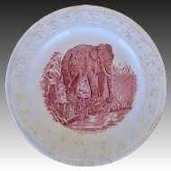 Victorian ABC Staffordshire Plate ~ A Fishing Elephant