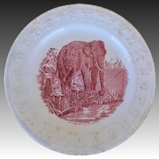 Victorian ABC Staffordshire Plate ~ A Fishing Elephant