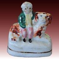 C1860 Antique Miniature Staffordshire Child On Spaniel Dog