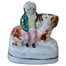 C1860 Antique Miniature Staffordshire Child On Spaniel Dog