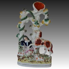 Antique Staffordshire Spill Vase ~ Dog Protecting Child From Snake C1860