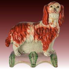 C1850 Antique Staffordshire Spaniel Dog