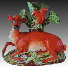 C1800 ~ Antique Staffordshire Deer And Squirrel Spill Vase