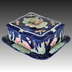 Antique Thomas Forester Majolica ~ Bird, Dragonfly, and Lily Pad Sardine Box