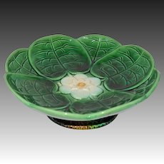 Antique Majolica Lily Pad Compote