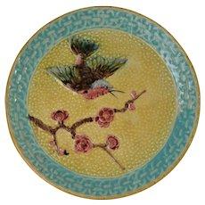 Antique Majolica Hummingbird And Prunus Blossom Compote