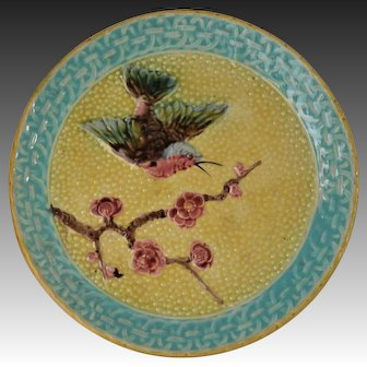 Antique Majolica Hummingbird And Prunus Blossom Compote