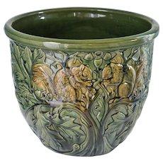 C1920 Weller American Art Pottery Jardiniere ~ Squirrels, Oak Leaves, & Acorns