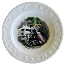 "C1860 Antique Staffordshire ABC Plate ~ ""Catch It Carlo"" Dog"