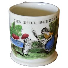 "Antique Staffordshire Pearlware Mug ~ Titled ""The Dull Scholar"" Dog"