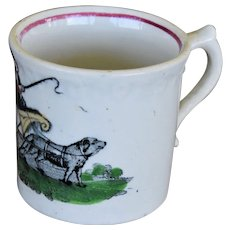 Antique ABC Staffordshire Pearlware Mug ~ Dog Pulling Cart
