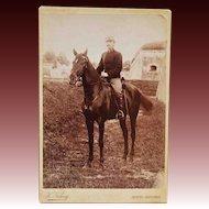 Antique Cabinet Photograph ~ Austrian Soldier & Beautiful Horse