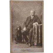 Antique Cabinet Photograph ~ Labrador Dog With Master