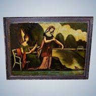 "C1810 Georgian Reverse Print On Glass Mezzotint ~ ""The Angelic Anglers"""