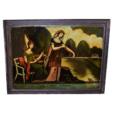 "C1810 Georgian Reverse Print On Glass ~ ""The Angelic Anglers"""