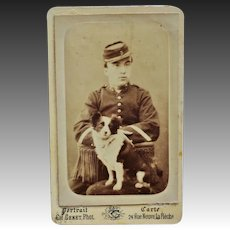 Antique French CDV Photo ~ Soldier With Dog Mascot