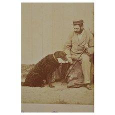 Antique French Cabinet Photo ~ Faithful Dog With Master