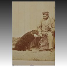 Antique French Cabinet Photo ~ Faithful Dog With Master