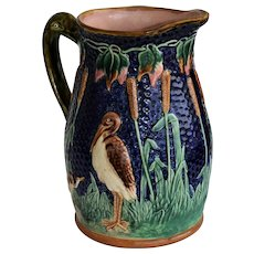 Large Antique Majolica Jug ~ Herons In Cattails