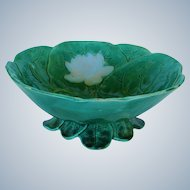 C1870 Victorian Majolica Water Lily Bowl By Joseph Holdcroft