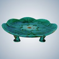 Joseph Holdcroft Majolica Water Lily Heron Footed Cake Plate C1870
