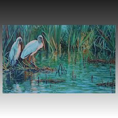 Large Framed Oil Painting ~ Immature Wood Storks