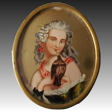 Antique French Miniature Portrait On Glass ~ Girl And Her Pet Bird