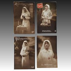 Set Of 4 French WW1 Red Cross Postcards