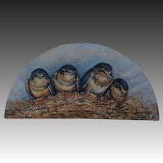 Half Round Oil Painting ~ Hungry Baby Barn Swallows