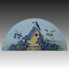 Half Round Oil Painting ~ Tree Swallows On Blooming Clematis