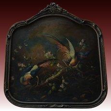 Victorian Oil Painting ~ Bird Of Paradise Pair