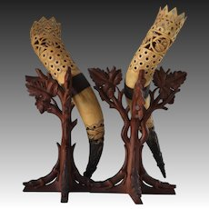 Antique Black Forest Alligators & Horn Cornucopia