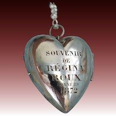"""Antique Silver French Heart Box Locket ~ """"Souvenir De Regina Roux Donne' En 1872"""""""
