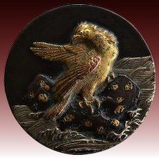 Antique Meiji Era Japanese Shakudo Stud Button