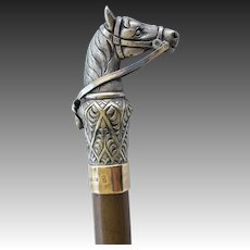 Antique Silver Walking Stick Cane ~ Figural Horse Head