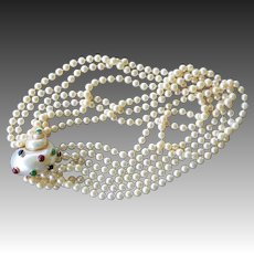 14k Gold Maz Cultured Akoya Pearl Necklace With Seashell Clasp