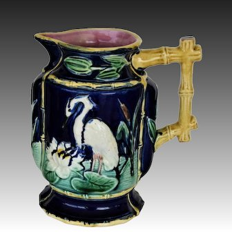 Antique Majolica Pitcher ~ Heron Crane With Lily Pads
