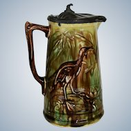 Antique Majolica Syrup Pitcher ~ Heron Crane With Lily Pads