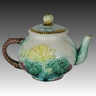 C1880 Victorian Majolica Teapot ~ Pond Lily and Rope