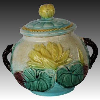 C1880 Victorian Majolica Sugar Bowl ~ Pond Lily and Rope