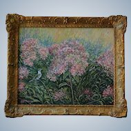 Hummingbird With Bee Oil Painting In Antique Frame