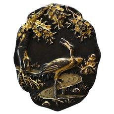 Antique Meiji Era Japanese Shakudo Plaque With Crane ~ Heron